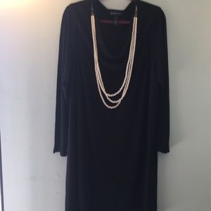 INC Black Dress with Pearl Necklace , Size 2X